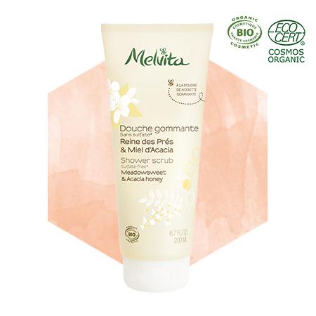 Peeling-Dusche– Echtes Mädesüss & Akazienhonig