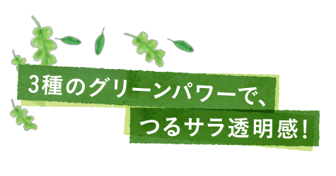 3種のグリーンパワーでつるサラ透明感!