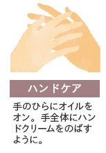 ハンドケア:手のひらにオイルをオン。手全体にハンドクリームをのばすように。